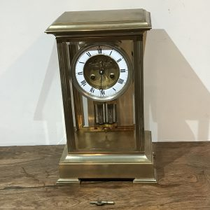 French Clock 4 sided glass panelled open escapement 8 day movement Antique Clocks