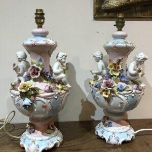 Pair of decorative tables lamps Antique Ceramics