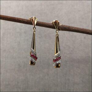 9ct Gold Ruby & Diamond Drop Earring Antique Earrings 3