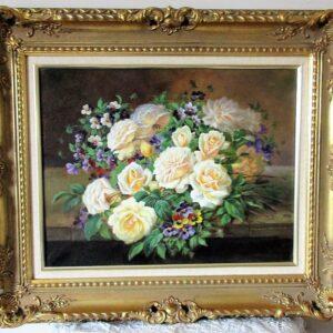 Cream Roses and Pansies