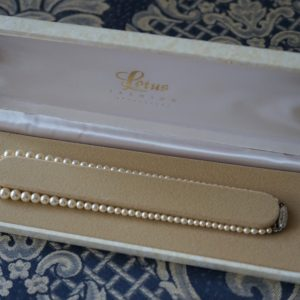 SALE – A LOTUS Graduated Faux Pearl Necklace With A Rhinestone Clasp – Boxed / Ideal Present A B Necklace Antique Necklaces