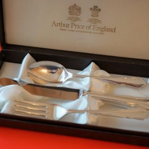 Circa:- 1950s A Christening Silver Plated Boxed Set – Collectable / Ideal Present Antique Sugar Tongs Antique Silver