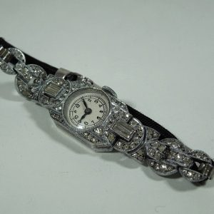 Ladies Art Deco Silver & Diamante Cocktail Watch HM 1937 Antique Jewellery