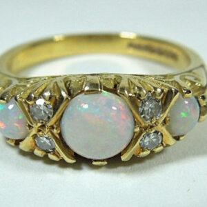 18ct Gold 3 Stone Fiery Opal & Diamond Ring Antique Jewellery