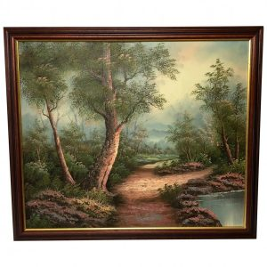 """English Oil Painting """"View Through Sherwood Forest"""" Landscape art Vintage"""