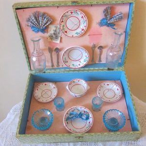 Antique French Doll's Toy Porcelaine & Glass Picnic Set decanters Antique Toys