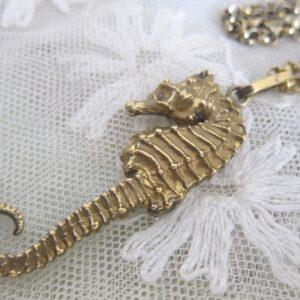 """Vintage Denmark """"Flora Danka""""Oria Eggert Silver Gilt """"Seahorse""""Pendant & Chain Antique Silver Antique Pendants"""