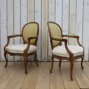 Pair Antique Fauteuil Armchairs For Re-upholstery (Copy) armchairs Antique Chairs
