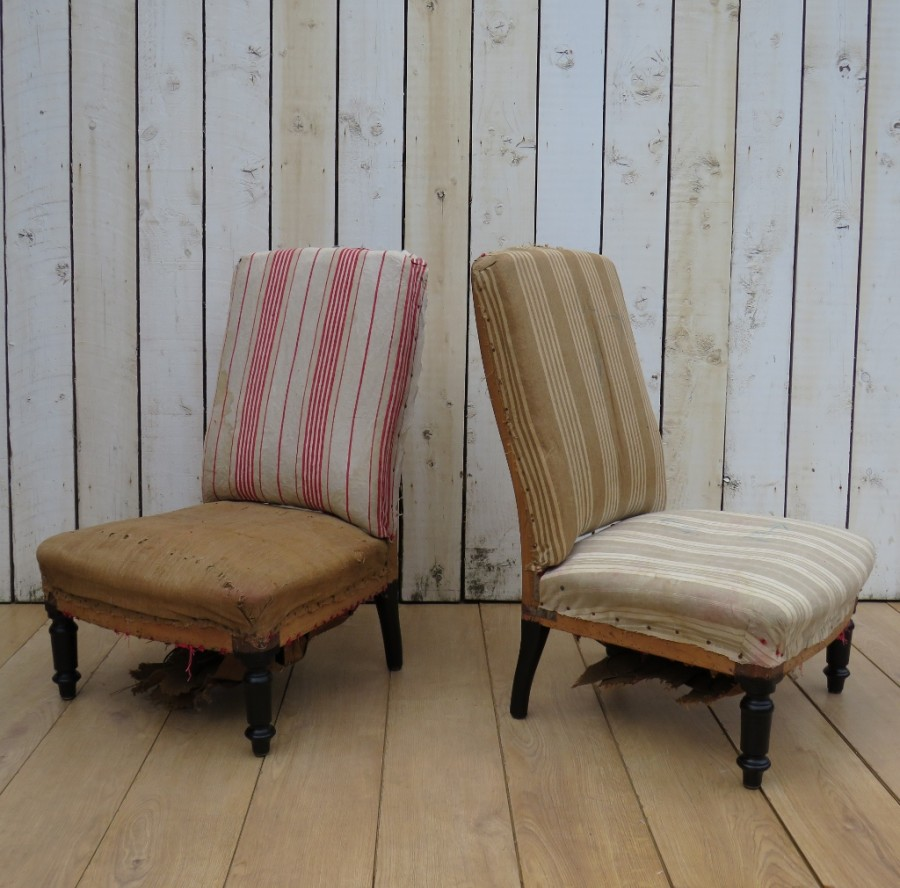 Pair Antique French Slipper Fireside Chairs For Re-upholstery