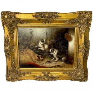 """19th Century Oil Painting 3 Hunting Terrier Dogs """"A Sharp Lookout"""" Edward Armfield 1817-1896 Antique Art Antique Art"""