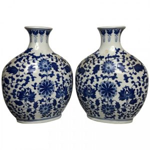 Pair Chinese Nanking Style Porcelain Blue and White Flask Vases Antique style Vintage
