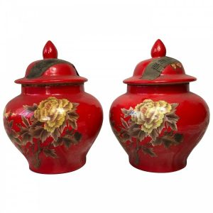 Pair Chinese Red Locust Butterfly Tea Caddy Vases butterfly Vintage