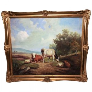 Oil Painting Cattle Cows & Sheep Pastoral After Thomas Sidney Cooper animals Vintage