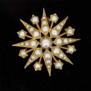 Victorian Star-Burst Pearl Set Brooch earrings Antique Earrings