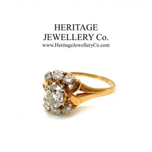 Vintage French Diamond Cluster Ring Antique Antique Rings