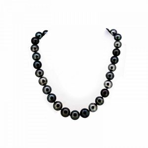 Tahitian Pearl Necklace With Diamond Set Clasp  Black Pearl Necklace With Diamond Ball Clasp  Tahitian Pearl 14 x 12 mm. charms Antique Jewellery