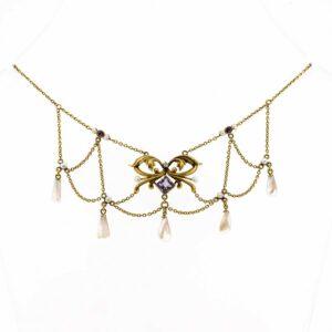 Exquisite Antique Art Nouveau Natural Pearl Amethyst And Diamond Necklace 10K Art Nouveau Necklace  Antique Art Nouveau Pearl Necklace ring Antique Jewellery