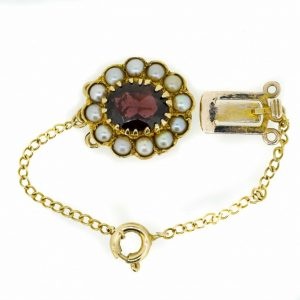 Pearl And Garnet Three Row Clasp  9ct Gold Garnet And Pearl Clasp  Three Row Pearl Clasp Garnet And Pearl Set Antique Jewellery