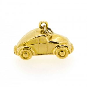 Gold Beetle car charm, Yellow gold Beetle pendant,Fun gold charm charms Antique Jewellery