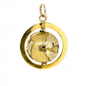 14k Globe Novelty Charm,14ct Globe Charm charms Antique Jewellery
