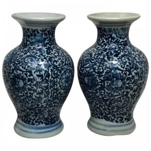 Pair Small Chinese Blue White Porcelain Vases Signed blue and white Vintage