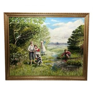 """Oil Painting """"Children Playing With Dog By River"""" art Vintage"""