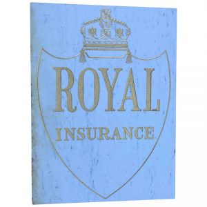 Large Reclaimed Architectural Marble & Gilt Inscribed Royal Insurance Building Sign architectual Vintage