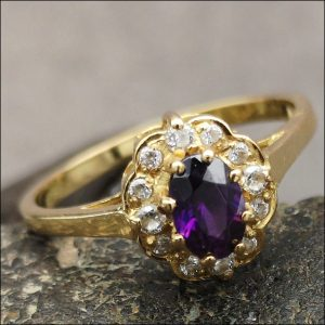 18ct Gold Amethyst & Diamond Cluster Ring Miscellaneous