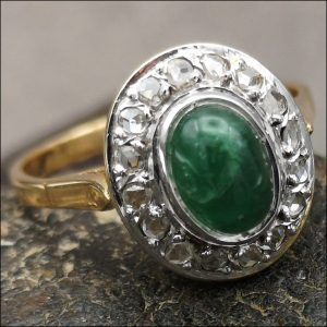 18ct Gold Emerald Cabochon and Rose Cut Diamond Cluster Ring Antique Jewellery