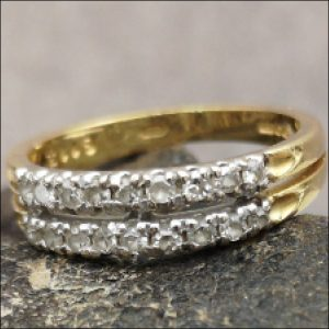 18ct Gold Diamond Double Half Eternity Ring Antique Jewellery