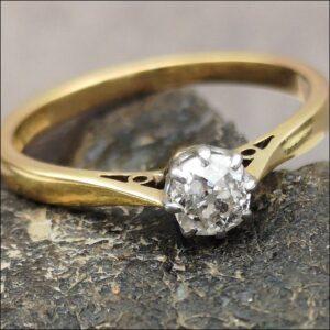 18ct Gold & Platinum Diamond Solitaire Ring Antique Jewellery
