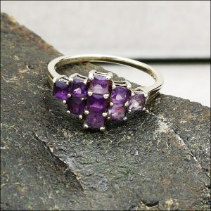 9ct Gold Amethyst 9 Stone Cluster Ring (gold569082) Antique Jewellery