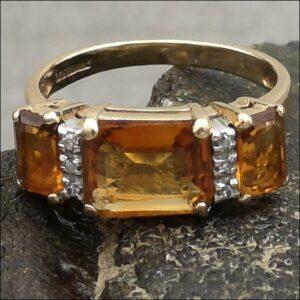 9ct Gold Diamond & Three Stone Citrine Ring (gold619092) Antique Jewellery