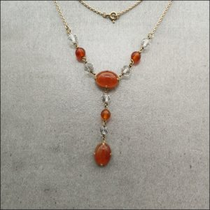 9ct Gold Art Deco Carnelian And Crystal Necklace (gold391060) Antique Jewellery
