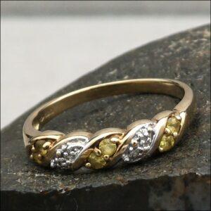 9ct Gold Diamond & Citrine Ring (gold491066) Antique Jewellery