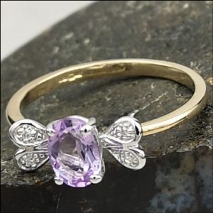 9ct Gold Diamond & Amethyst Ring (gold812056) Antique Jewellery