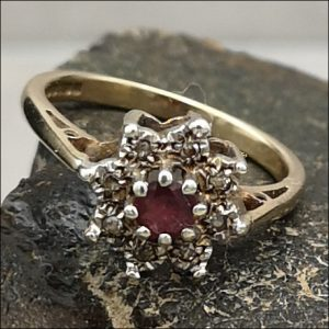 9ct Gold Ruby And Diamond Flower Ring (gold881066) Antique Jewellery