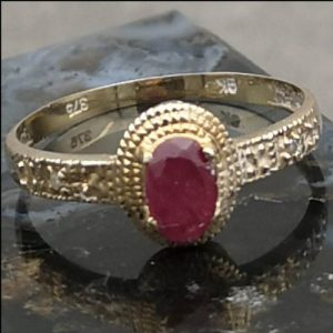 9ct Gold Ruby & Diamond Ring (gold560040) Antique Jewellery