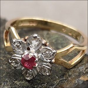 9ct Gold Diamond Ruby Diamond Ring Very Unusual Shank (gold352059) Antique Jewellery