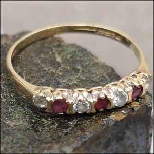 9ct Gold Ruby Eternity Diamond Ring (gold335056) Antique Jewellery