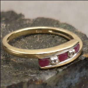 9ct Gold Ruby & Diamond Ring (gold20043) Antique Jewellery