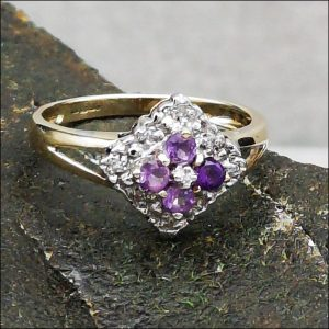 9ct Gold Amethyst And Diamond Cluster Ring Antique Jewellery
