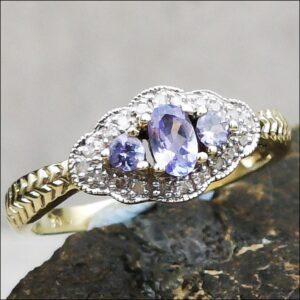 9ct Gold Three Stone Tanzanite and Diamond Ring Antique Jewellery