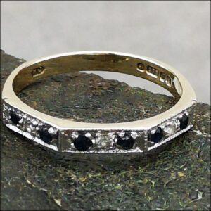 9ct Gold Sapphire and Diamond Half Eternity Ring Antique Jewellery