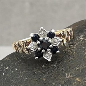 9ct Gold Sappire Diamond Flower Cluster Cocktail Ring Antique Jewellery