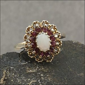 9ct Gold Fiery Opal & Ruby Cluster Ring Antique Jewellery