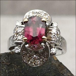 18ct Gold Ruby and Diamond Ring Antique Jewellery
