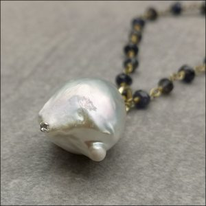 9ct Gold Clasp Amethyst Bead & Baroque Pearl with Diamond Pendant and Chain Antique Jewellery
