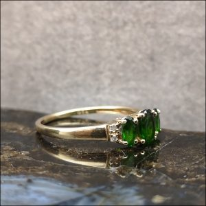 9ct Gold Diopside and Diamond Ring Antique Jewellery