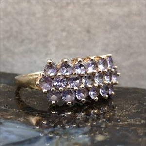 9ct Gold Tanzanite Cluster Ring Antique Jewellery